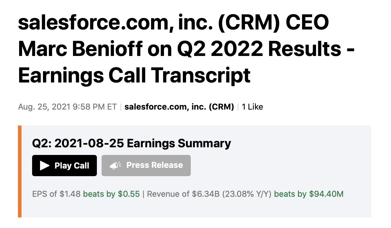 CRM earnings Call